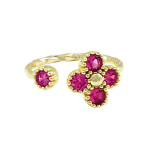 Sterling Silver Gold Finish Lab-created Ruby Teen's Kid's Adjustable Flower Ring