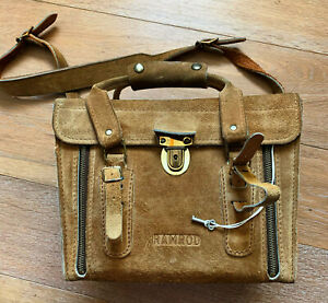 Vintage Suede Bag Adjustable Strap Lock Fastener & Key 1970s Camera, Travel