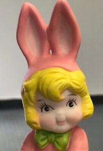 Vintage 1995 Campbell's Soup Kids Girl Pink Porcelain Easter Bunny Figurine