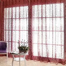 Hot Pastoral Floral Sheer Tulle Voile Door Scarf Valances Drape Window Curtains Wine Red