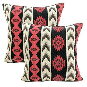 Decorative Cotton Pillow Covers Black 16 x 16 Dhurrie Loom Ikat Cushion Covers