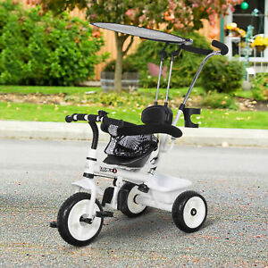HOMCOM Kids Children Tricycle Ride on 3 Wheels Safe Canopy w/ Handle White