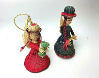 Vintage Handmade Wicker Angels Christmas Ornaments