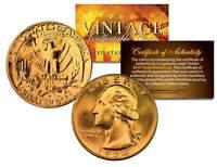 1960s SILVER WASHINGTON Quarter U.S. Coin 24K GOLD PLATED with Capsule & COA