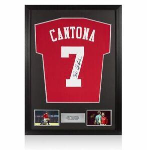 Framed Eric Cantona Signed Manchester United Shirt - Home 2019-2020