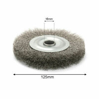 5 Inch 125mm Arbor Crimped Stainless Steel Wire Wheel For Bench Grinder New