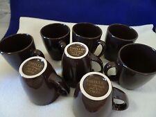 CORELLE CORNINGWARE STONEWARE CHOCOLATE BROWN COFFEE MUGS/CUPS-(8) 8 OZ. CAPACIT