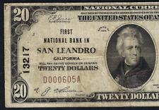 CA 1929 $20  ♚♚San Leandro, CALIFORNIA♚♚ HARD TO FIND