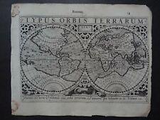 1608 HONDIUS  Mercator Atlas WORLD map  Typus Orbis Terrarum - Mappemonde