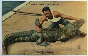 Musa Isle Seminole Indian Village Alligator Wrestling Native Americana Postcard