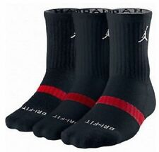 Nike Jordan Dri Fit Crew Black Socks 3 PAIRS Size 8 ~ 12 (# 546481-012)