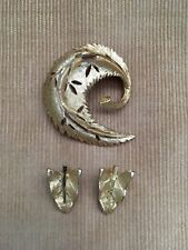 Antique Vtg B.S.K Signed Gold Tone Brooch With Earrings