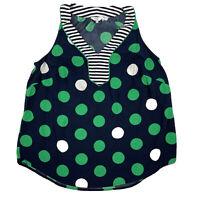 Crown & Ivy Womens Navy Sleeveless Blouse Tank Top Sz 0x Plus Stripes Polka Dots