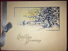 """EARLY VICTORIAN CHRISTMAS BLESSINGS HOLIDAY CARD w/ BABY BLUE RIBBON 4"""" x 3"""""""