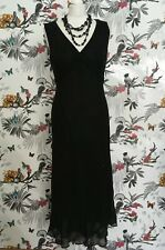Vintage *Laura Ashley* Black Pure Silk Maxi Dress Size 14 Downtown Flapper 20s