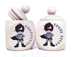 Held Superheld Junge Zahndose Milchzahndose Zähnchen Lockendose Aufbewahrung