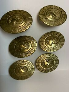 "Vintage Lot 6 Brass Cameo Dresser Door Pull Knobs Hardware ""W"""