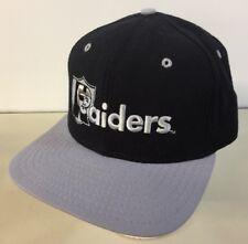 Vintage 1990s Raiders New Era SnapBack Hat Team NFL Black Embroidered Made USA