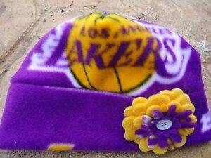 Los Angeles Lakers Fleece Flower Hat  Newborn Baby Infant Girls, 0-3-6-12 months
