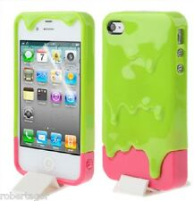 Case Cover Ice Cream Ice Cream 3 D 3D Melt for Apple IPHONE 4 & 4S Green Fuchsia