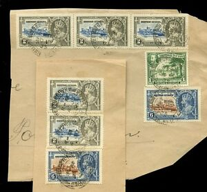 BRITISH GUIANA 1935 SILVER JUBILEE ISSUE 7 stamps USED on PIECE