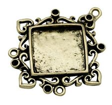 4 x Antique Bronze Cabochon Settings - Diamond Charms - Inner 36x28mm