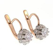 1.83 CWT. GENUINE DIAMOND 14K ROSE & WHITE GOLD EARRINGS E651