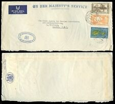 NEW HEBRIDES 1964 OFFICIAL AIRMAIL OHMS ENVELOPE COMMISSIONER...190c FRANKING