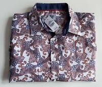 Kilburne & Finch Men's Button  Paisley Long Sleeve Dress Shirt  2XL  51-28