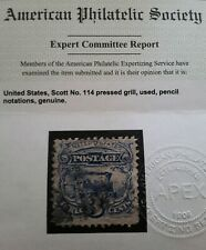 US STAMP Scott # 114 With Certificate, Grill