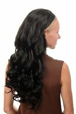 Halbperücke Haarteil mit Haarreif lang wellig wilder Look schwarz TYW60871H-2