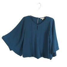 Skies are Blue Womens Draped Wrap Boho Blouse Top Size XS Loose Bell Sleeves