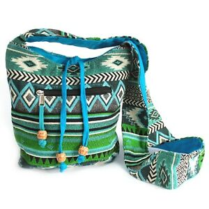Cotton Canvas Shoulder Bag Diamond Pattern Hippie Festival Sling Boho Beach UK