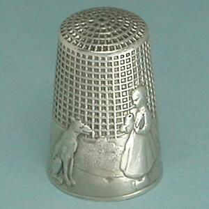 Antique French Silver Waffle Knurled Little Red Riding Hood Thimble * Circa 1910