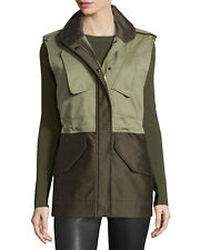 Rag & Bone Kinsley Cotton Colorblock Vest Jacket Coat Army Green 4 Nwt $595