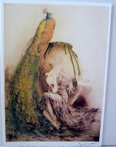 "Louis Icart PEACOCK SHAWL  (20"" x 14"")"
