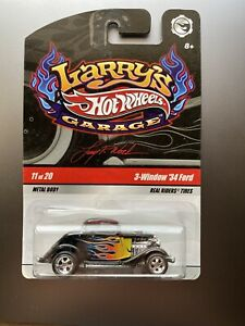 HOT WHEELS 2009 LARRY'S GARAGE 3-WINDOW 34 FORD #11 OF 20 WITH RUBBER TIRES