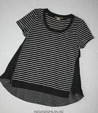 ANTHROPOLOGIE Little Yellow Button black white stripe dot flirty hi low tunic XS