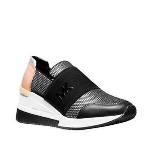 MICHAEL KORS Women's Felix Trainer Mesh Logo Sneakers Silver Black Rose Gold