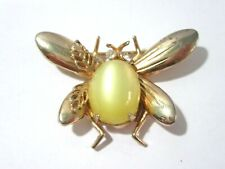 YELLOW MOONGLOW RHINESTONE EYES INSECT FLY PIN VINTAGE