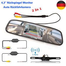"Funk 4,3"" Rückspiegel Monitor Auto IR Rückfahrkamera Wasserdicht Einparkhilfe"