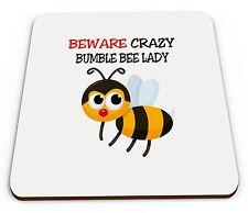 Beware Crazy Bumble Bee Lady Novelty Glossy Mug Coaster