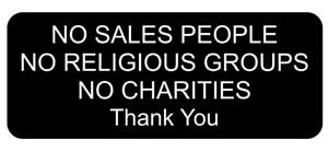 No Sales People Religious Groups Charities Thank You Sign Plaque Outdoor Rated