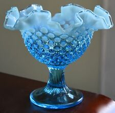 PALE BLUE GLASS MILK GLASS CASED HOBNAIL RIPPLE CRIMPED RIM COMPOTE BOWL DESSERT