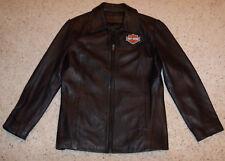 Women's Soft Black Leather Jacket Coat Large, L, 10, 12, Harley Davidson Patches