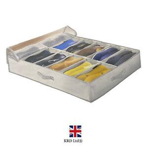 1 x 12 Pocket Shoe Organiser Under Bed Storage Fabric Foldable Box Clothes Bag