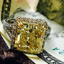 Radiant Yellow Fancy Cut Diamond Engagement Wedding Ring in 14K White Gold
