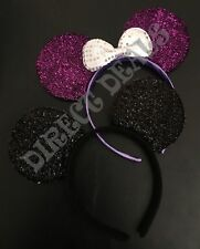 2 pcs Minnie Mickey Mouse Ears Shimmer Black Sparkly Purple Silver Bow Adult Kid