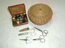 Vintage Sewing Basket Scissors Machine Thread