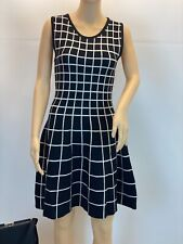 Lucce Black Cream A-line Knee Lenght Sleeveless Knit Dress S/M - M/L